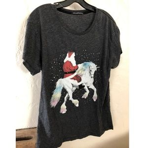 WILDFOX Santa on Unicorn Graphic T shirt SZ XS